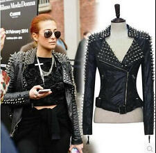 Women 's Punk Spike Studded Shoulder Leather rivet locomotive Coat Jacket