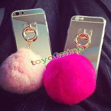 New Luxury Rabbit Fur Ball  Metal Ring TPU Case Cover For iPhone 5 SE 6 6s
