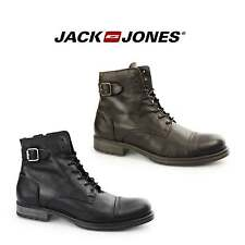 Jack & Jones SITI Mens Leather Biker Zip Laced Buckle Boots-Made In Portugal