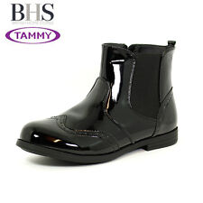 WOMENS GIRLS ANKLE BOOTS FLATS CHELSEA HIGH TOP ZIP PATENT SCHOOL SHOES SIZE 3-8