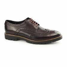 Base London TRENCH Mens Washed Leather Lace Up Traditional Brogue Shoes Bordeaux