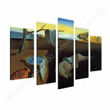 CANVAS +GIFT The Persistence Of Memory Clock Salvador Dali 5 Panels Giclee