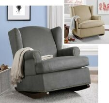 Beige or Gray Wingback Rocker Rocking Chair Nursery Baby Relax Chairs Furniture