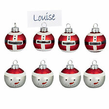 Premier Set of 4 Glass Bauble Table Place Card Holder - Santa or Snowman
