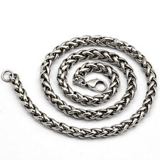 "3/4/5/6MM 18-36""  Mens New Silver Stainless Steel Wheat Braided Chain Necklace"