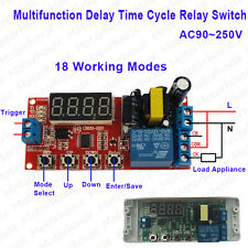 AC110V 220V Digital LED Multifunction Cycle Delay Timing Timer Time Relay Switch