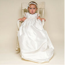 Noble Handmade Christening Gown White/Ivory Baby Girl Boy Baptism With Headband