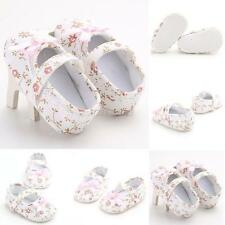 Cute Baby Girls Floral Crib Shoes Soft Bottom First Walkers Princess Bow Shoes