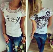 Women Wings Letter Printing Round Neck T-shirt Lady Casual Short Lace Sleeve Top