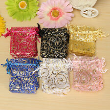 100pcs 7 X 9 cm Organza Wedding Favor Gift Jewelry Candy Pouch Drawstring Bags