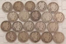 20 Silver Barber Half Dollars 50 Cent  All Different  1893-1915 P D O & S B649B