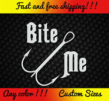 Bite Me Fishing Vinyl Decal Sticker Funny Car Truck Bass Boat Rod Lure Reel