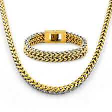 Miami Cuban Curb Men Bling Necklace Full Stainless Steel Polished Bracelet Homme