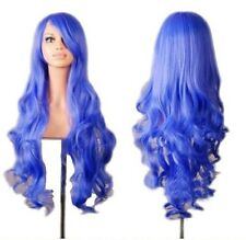 "Party 32"" Women Wig Long Hair Heat Resistant Spiral Curly Cosplay Wig Blue Event"