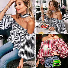 Fashion Women Sexy Off Shoulder Casual Loose Long Sleeve T-Shirt Tops Blouse New