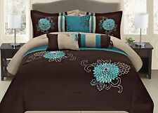 Luxury Fancy Embroidery Comforter Set 7 PC Bedding Set Elegant Turquoise Brown.