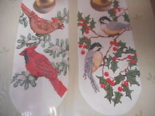 Vintage Cardinals & Chickadees Counted Cross Stitch Kit Bird Door Knob Decor