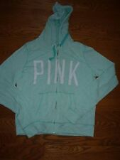 "VICTORIAS SECRET PINK APPLIQUE ""PINK"" LIGHTWEIGHT FULL ZIP HOODIE NWT"
