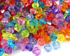 300 Mixed Acrylic Plastic Transparent Faceted Bicone Spacer Beads 6mm 8mm 10mm