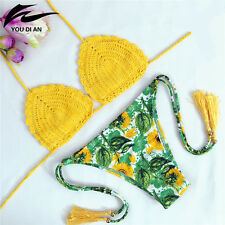 Sexy Women Swimsuit Foral Brazilian Crochet Bikini Set Swimwear Bathing Suit