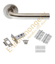 "Eurospec Unsprung Straight Handle Latch/Lock/Bathroom Pack 3"" BB Hinges 76mm SSS"