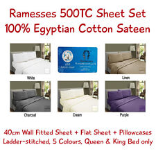 Ramesses 500TC Egyptian Cotton Sateen Sheet Set, Queen & King only, 5 Colours