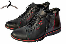 Men's Winter Boots Thick Cow Leather Outdoor Chukka Lace-up Zip Casual Shoes