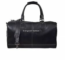 DUFFLE' black Large lightweight CLASSIC Weekend Holdall gym  Travel Leather Bag