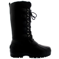 Ladies Durable Nylon Muck Lace Up Rain Snow Duck Winter Mid Calf Boots All Sizes