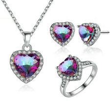 18k White Gold GP Rainbow Mystic Topaz Gemstone Pendant Necklace Earrings Ring