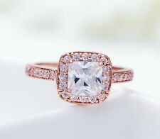 18K Rose Gold GP Austria Crystal Princess Cut AAA CZ Halo Engagement Ring R37a