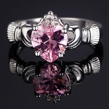 Womens irish claddagh heart pink Zircon CZ silver ring 18k White gold plated