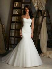 New Mermaid Pleat Train Bride Customize Wedding Dress 2 4 6 8 10 12 14 16 18 R46