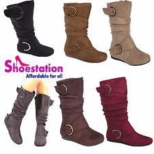 Women's Knee Thigh High Slouch Suede Buckle Slip on Flat Boots Choose Sizes 5-10