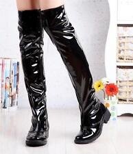 Women Zip Low Chunky Heel Patent Leather Dancing Over Knee High Boots Plus Size