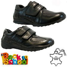 NEW BOYS KIDS LEATHER INFANT SMART CASUAL BLACK SCHOOL TRAINERS SHOES SIZE