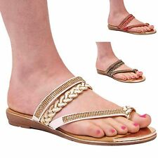 LADIES WOMENS TOE POST CASUAL SUMMER HOLIDAY CHAIN FLIP FLOP SANDALS SHOES