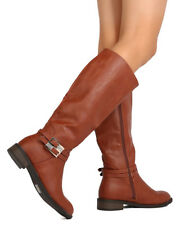 New Women DbDk Jojo-9 Leatherette Knee High Rhinestone Buckle Riding Boot