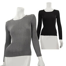 SPECCHIO PLEATS Round neck long sleeves basic top, womens size s m l xl 2x 3x