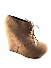Breckelles Jenny-13 Taupe Wedge Lace Up Ankle Booties