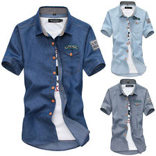 Fashion Mens Slim Fit Casual Dress Shirt Tee Tops Short Sleeve POLO T-Shirts A0