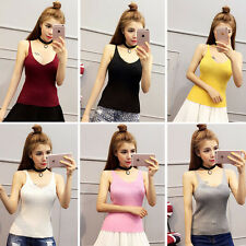 Sexy Womens Spaghetti Strap Sleeveless Knitted Vest Slim Casual Party Tank Tops