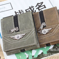 Men's Boys Punk Vintage Combat Zipper Wallet Tri-fold Card Holder Mini Purse New