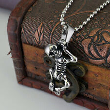 Mens Stainless Steel Skull Bull Head Pendant Vintage Totem Death Punk Necklace