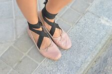 ZARA NUDE PINK LACE-UP LEATHER BALLET FLATS 35-41 REF 6444/101 AW16