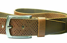 New Men genuine leather belt full grain wide casual formal Brown Tan Snake strap