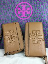NWT Tory Burch Bombe T Leather Zip Around Continental Wallet Iphone 6 Wristlet