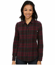 VANS Adolescence Flannel Shirt Womens Burgundy Plaid Slim Fit 100% Cotton NWT