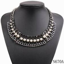 new design chain chunky statement crystal pearl pendant choker collar jewelry