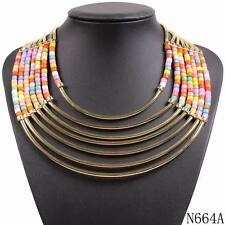 new arrival colorful acrylic bead gold plated chain choker statement necklace